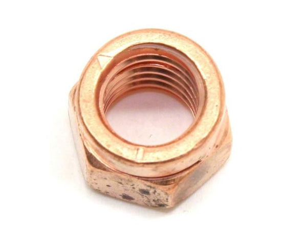 DIFtech Exhaust Nut M10 x 1.50 Slit Locking Head Copper 14mm Hex 10424 - Diftech