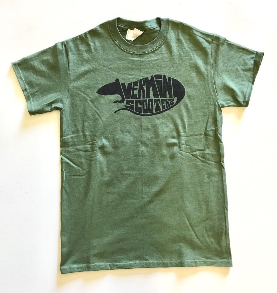 VERMIN SCOOTER T-SHIRT - LOGO GREEN (ADULT SIZES)