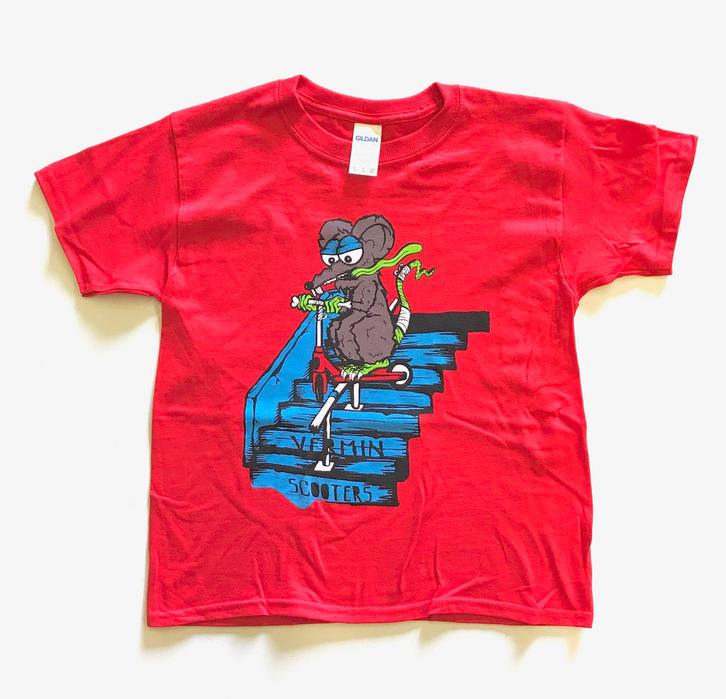 VERMIN SCOOTER T-SHIRTS - STAIRZ RED (YOUTH SIZES)