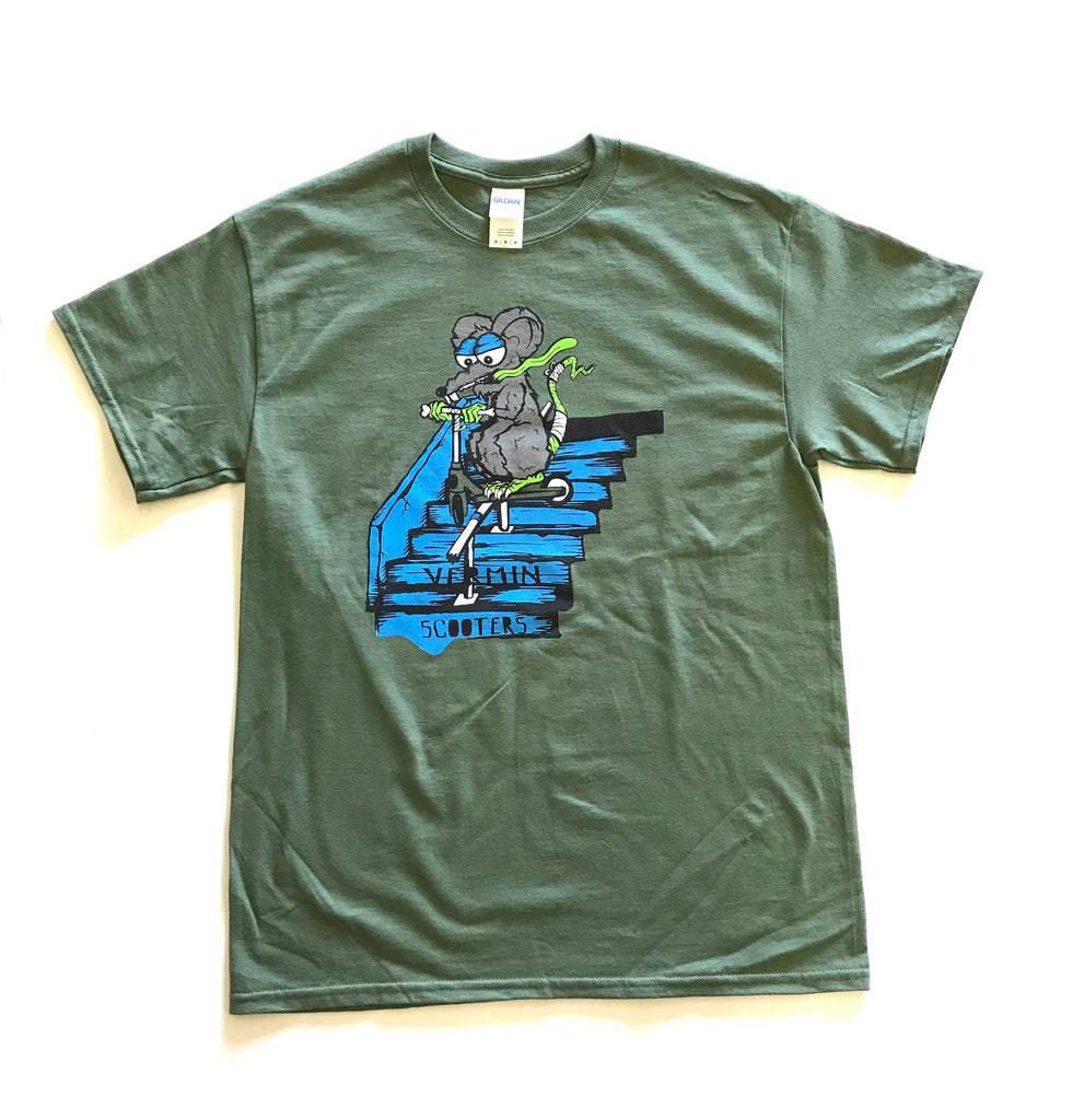 VERMIN SCOOTER T-SHIRTS - STAIRZ GREEN (ADULT SIZES)