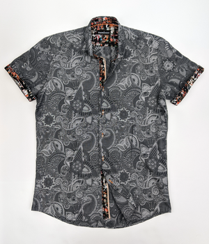 Men's Silver Paisley Short Sleeve Dress Shirt
