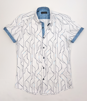 Men's Lines Short Sleeve Dress Shirt