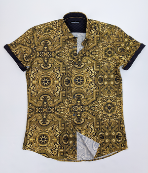 Men's Gold Short Sleeve Dress Shirt
