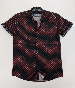 Men's Dots Short Sleeve Dress Shirt