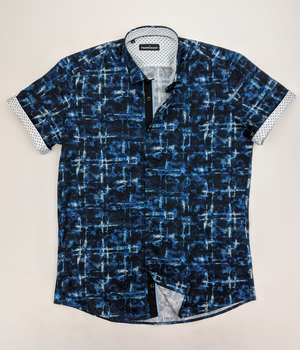Men's Aqua Paisley Short Sleeve Dress Shirt
