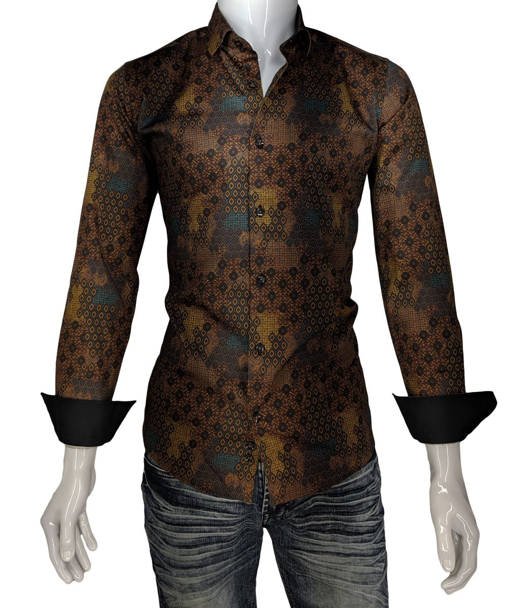 Men's Brown Print Long Sleeve Dress Shirt