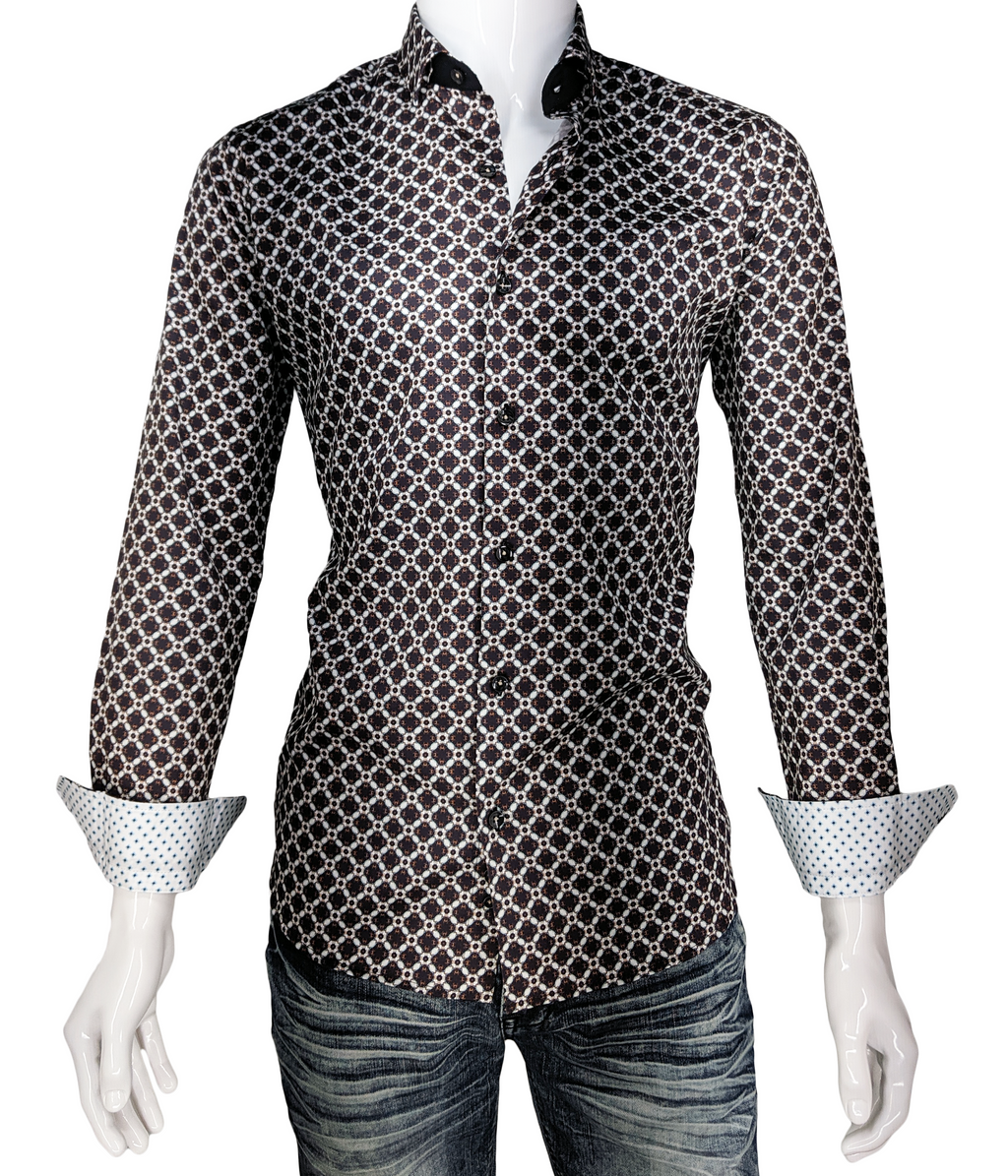 Men's Digital Print Long Sleeve Dress Shirt