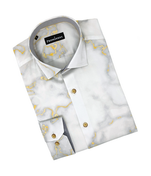 Men's Gold Marbled Long Sleeve Dress Shirt