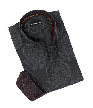 Men's Black Jacquard Long Sleeve Dress Shirt