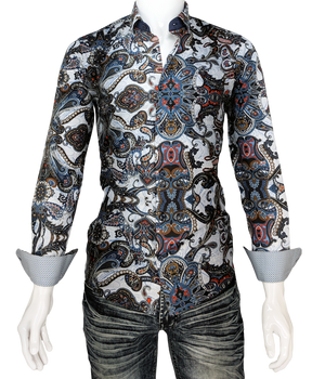 Men's Paisley Multicolor Long Sleeve Dress Shirt