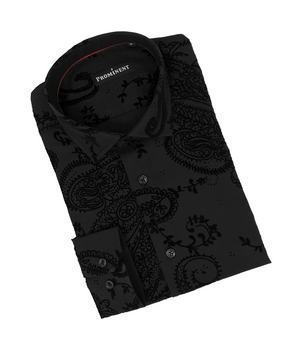 Men's Black Flocking Long Sleeve Dress Shirt