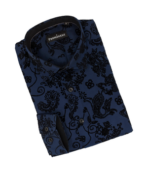 Men's Navy Flocking Long Sleeve Dress Shirt