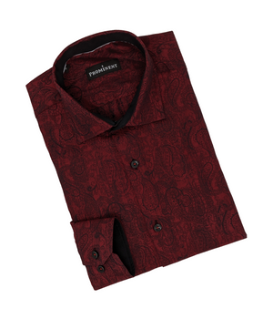 Men's Dark Red Jacquard Long Sleeve Dress Shirt