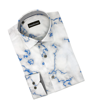 Men's Blue Marbled Long Sleeve Dress Shirt