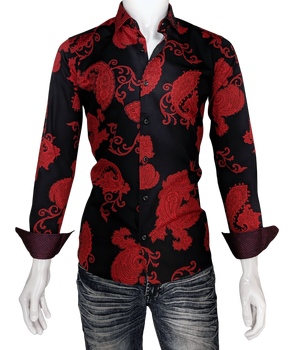 Men's Valentine Red Paisley Long Sleeve Dress Shirt