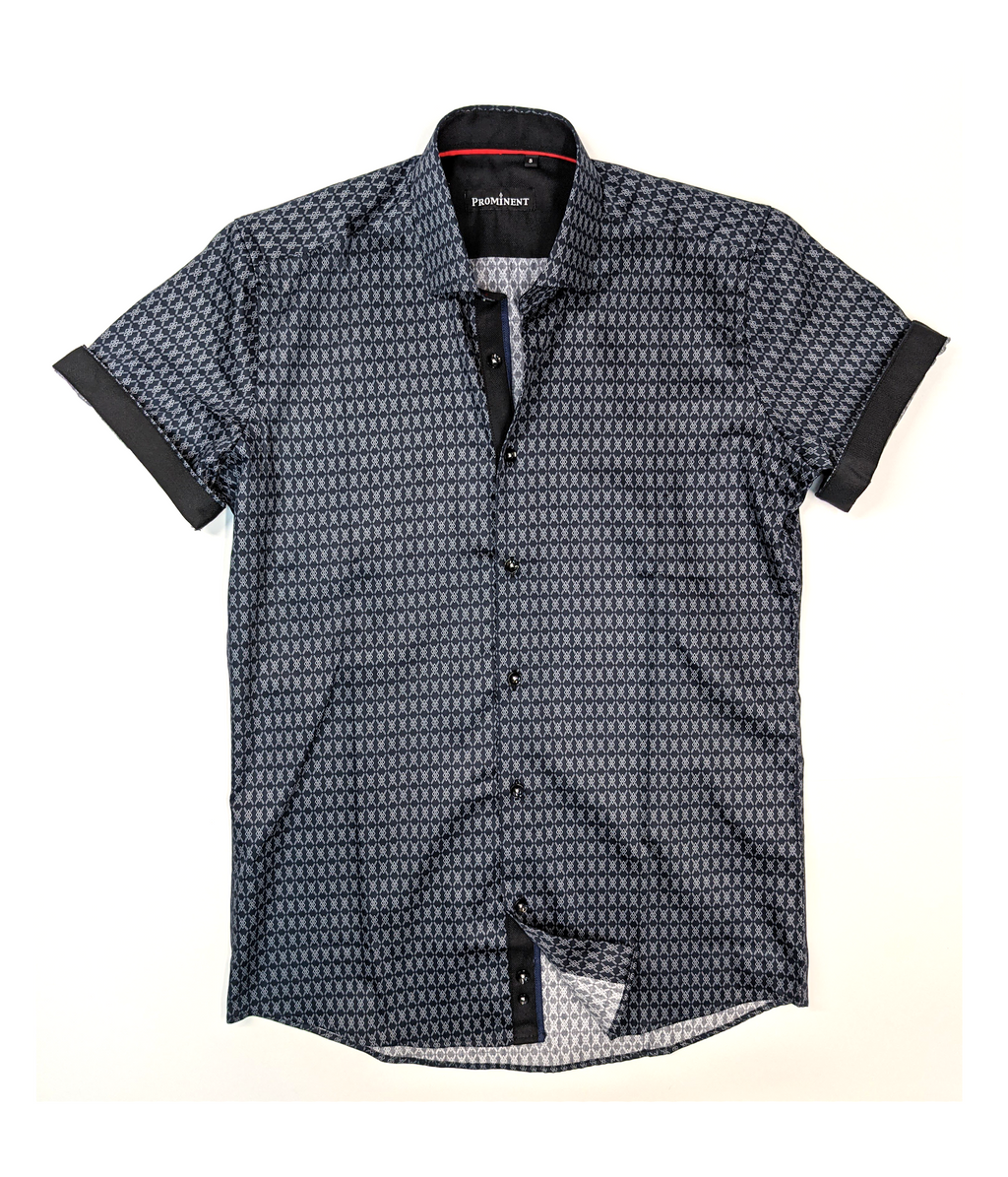 Men's Diamond Pattern Short Sleeve Dress Shirt