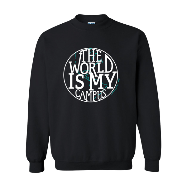 The World is My Campus Crewneck Sweatshirt - Black