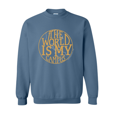 The World is My Campus Crewneck Sweatshirt - Indigo