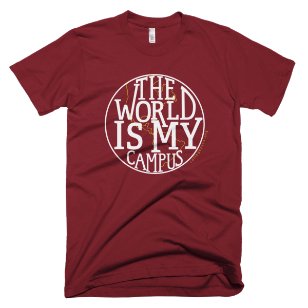 World is My Campus - Unisex t-shirt (White design with gold highlights)
