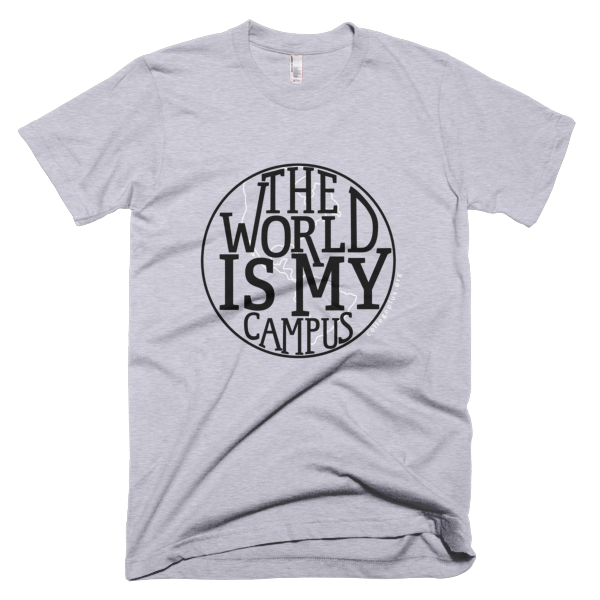 World is my Campus - Unisex t-shirt (Black design with white highlights)