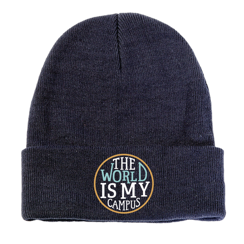 The World is My Campus Beanie - Navy Blue