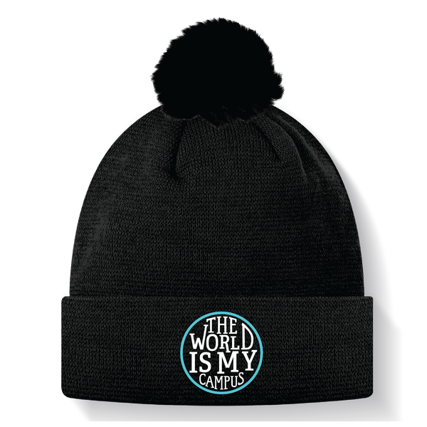 The World is My Campus Beanie with Pom Pom - Black