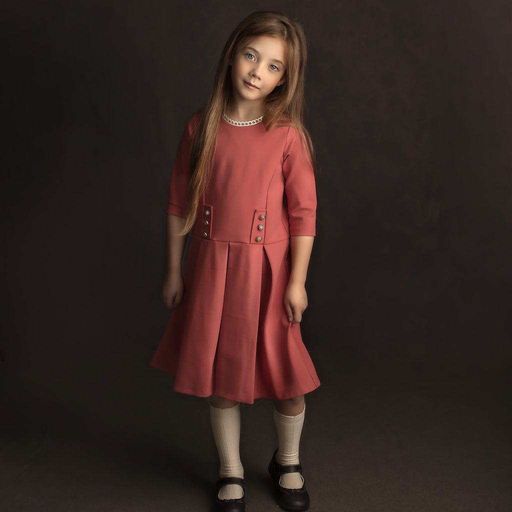 Cora Dress - Persimmon Pink Girls