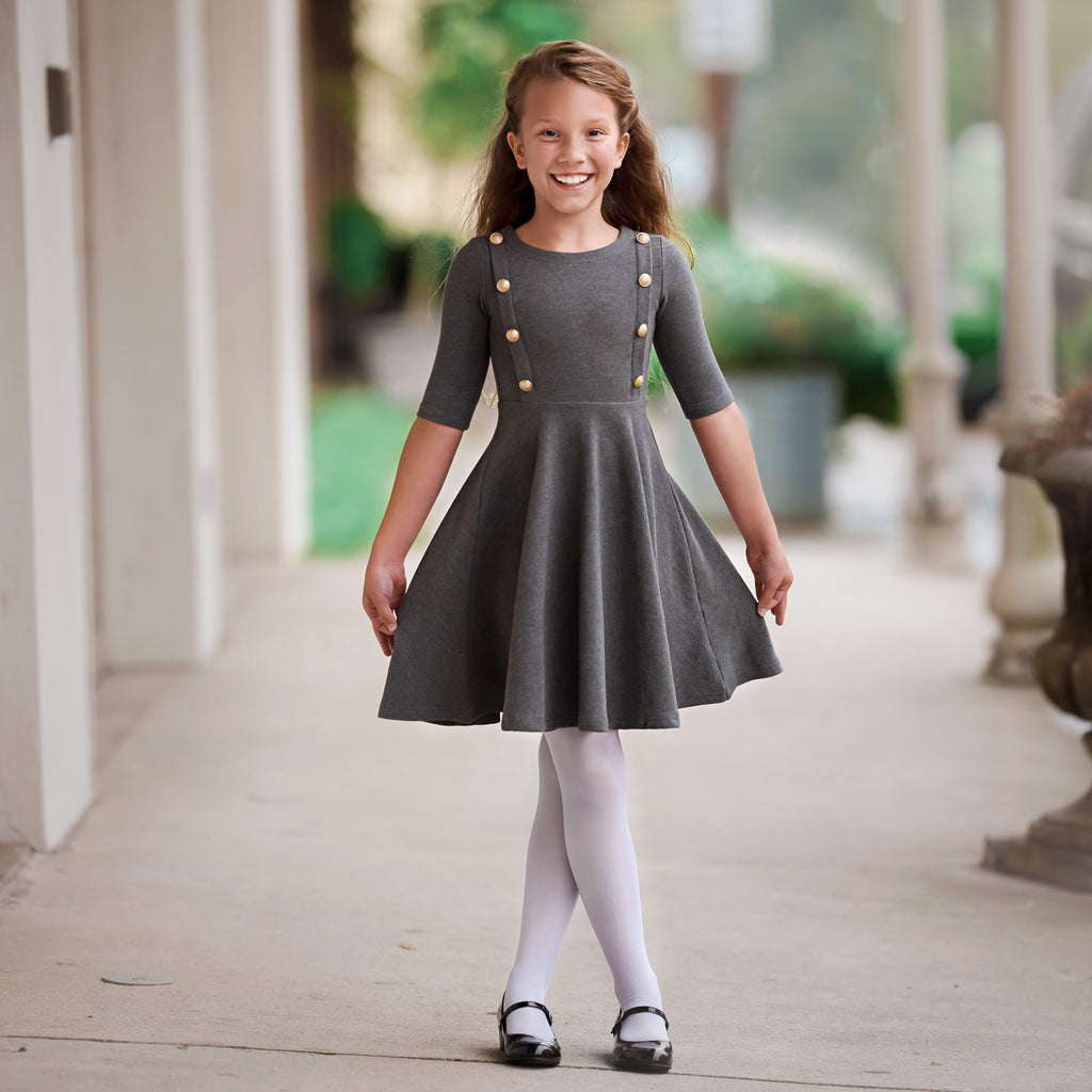 The Regalia Dress - Girl's Grey