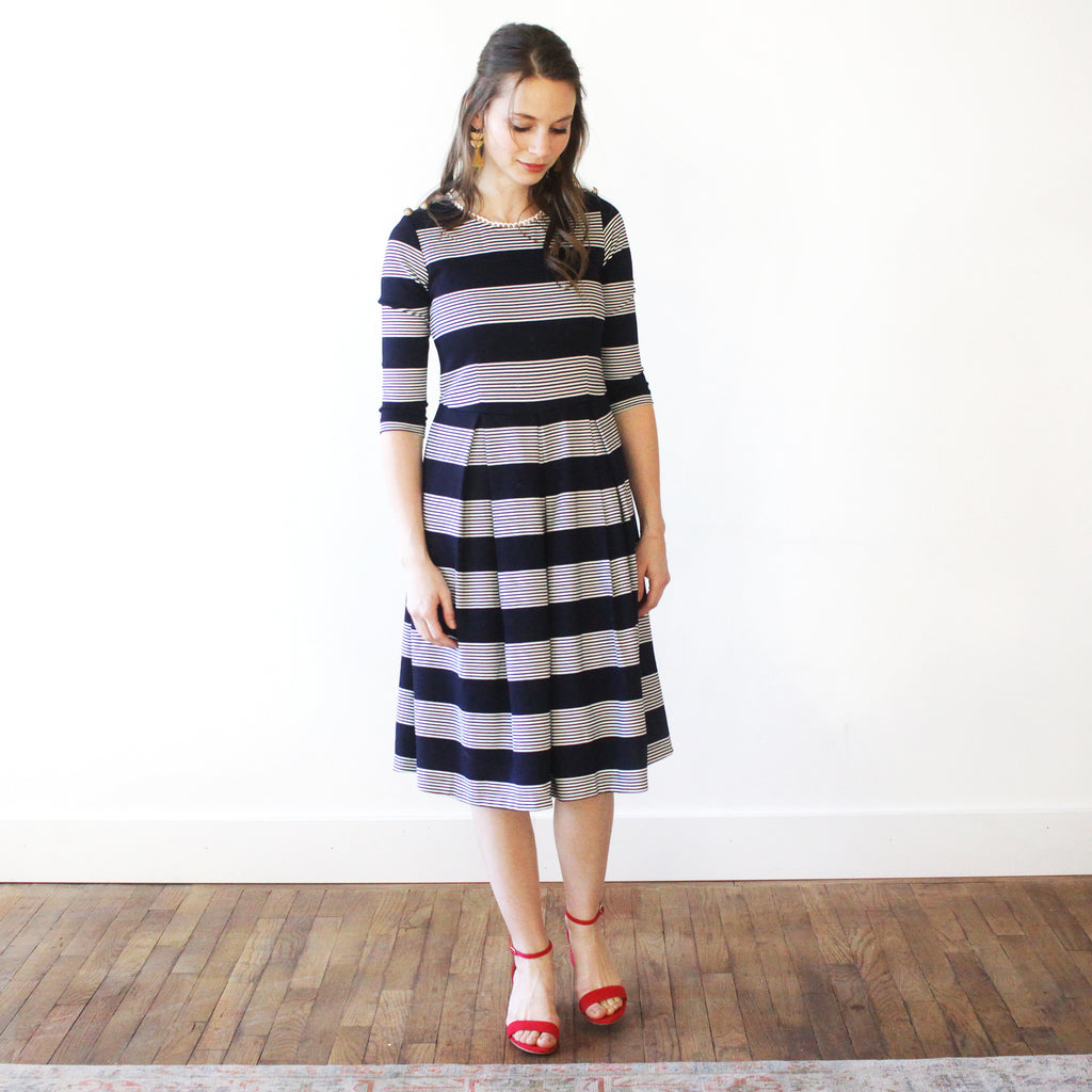 Ladies'  Cora Dress - Navy and White Stripe