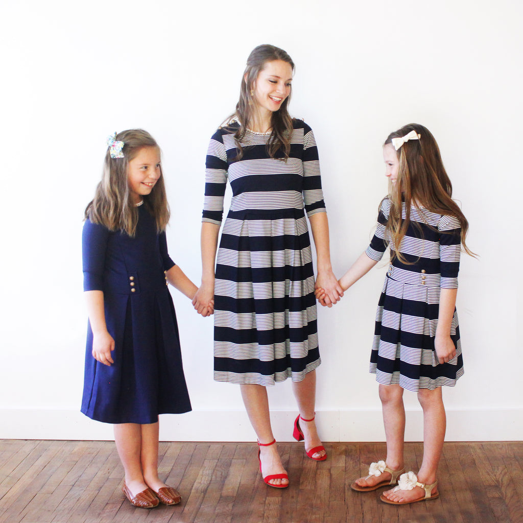 Cora Dress - Navy and White Stripe Girls