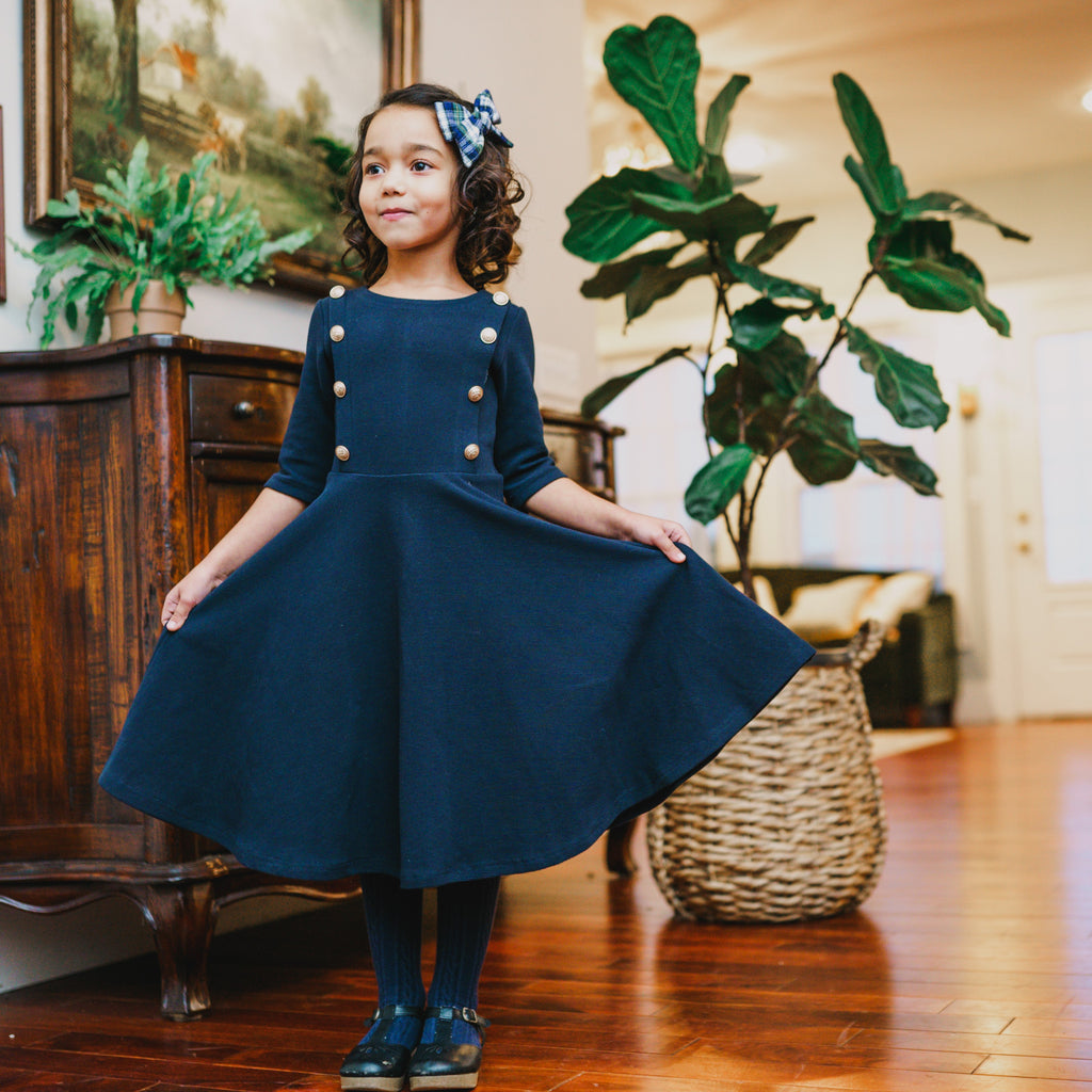 The Regalia Dress - Girl's Navy