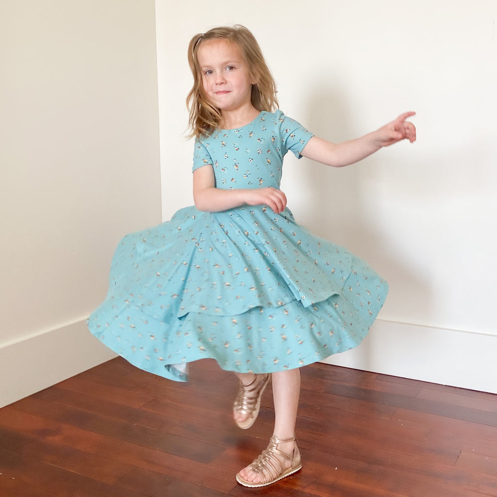 The Sophia Dress - Teal Floral