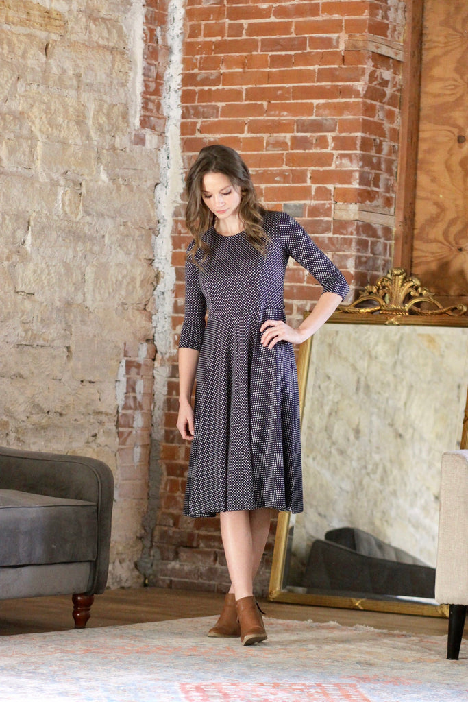 Ladies' Sophia Dress -  Navy Hearts