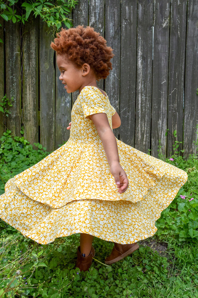 The Sophia Dress - Goldenrod Floral