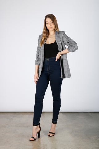Glen Plaid Knit Crepe Blazer