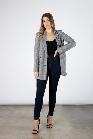 Glen Plaid Button Front Blazer | Boom Boom Jeans