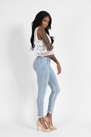 Boom Boom Jeans - Total Frayed Ankle Skinny Jeans