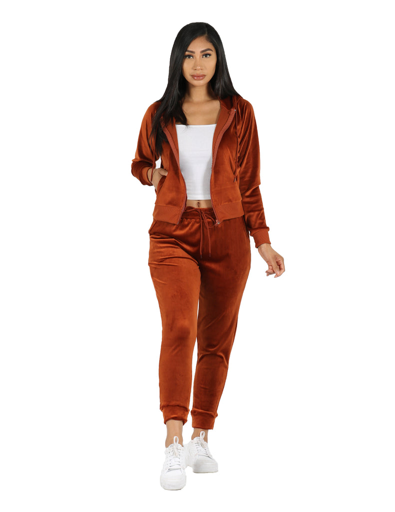 She's Verified Zip Hoodie Jacket and Jogger Velour Active Set