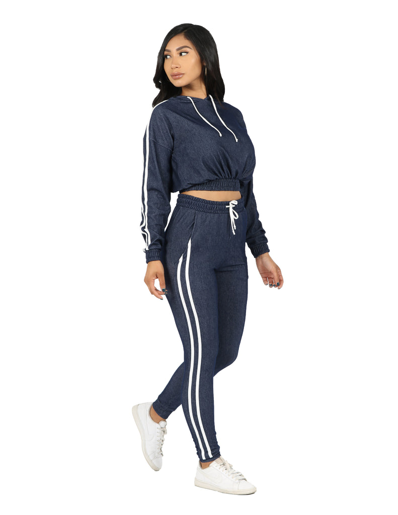 Active Denim Knit Hoodie and Jogger Set