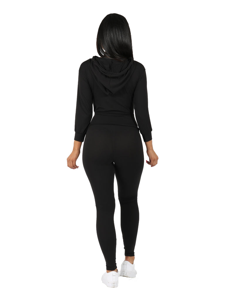 Active Yummy Wide Waist Band Hoodie and Legging Set