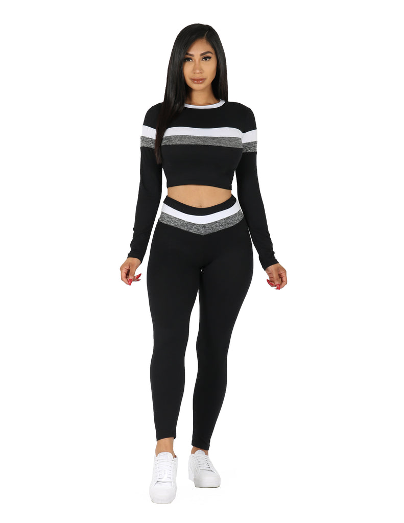 Active Yummy Striped Long Sleeve Crop Top and Legging Set
