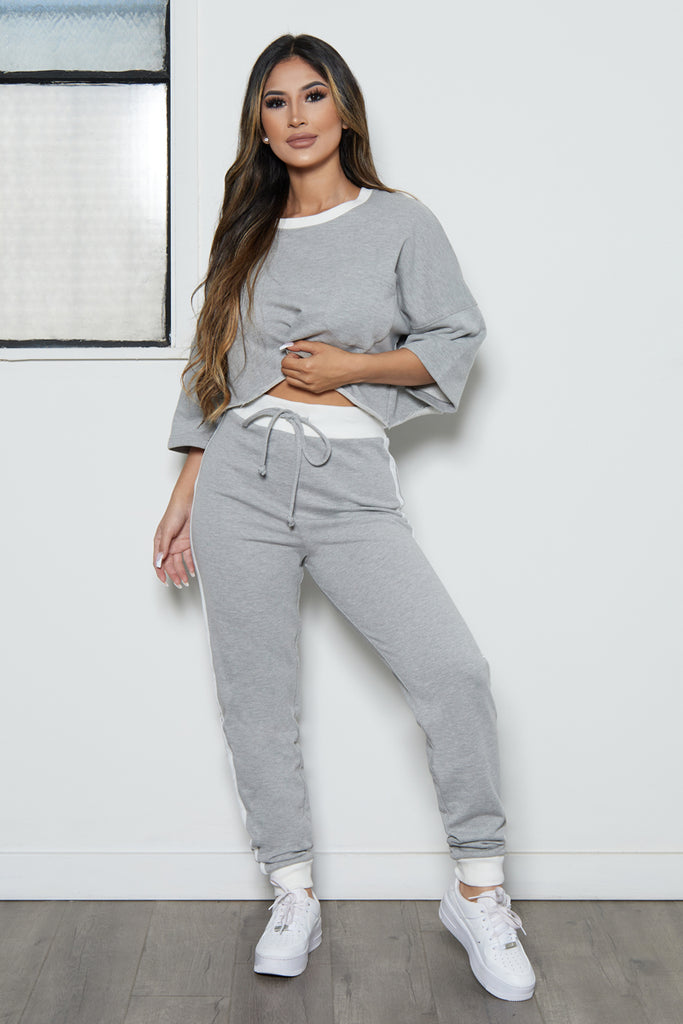 Oversize Crop Tee and Jogger Set