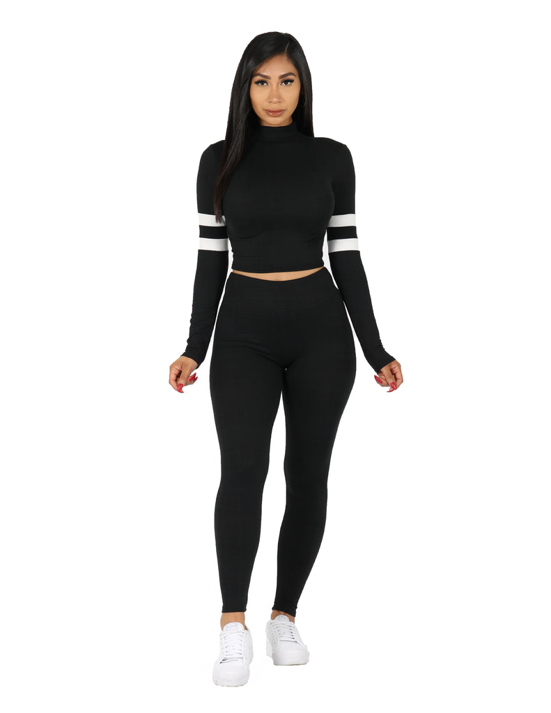 Yummy Active Turtle Neck with Sleeve Stripes and Legging Set