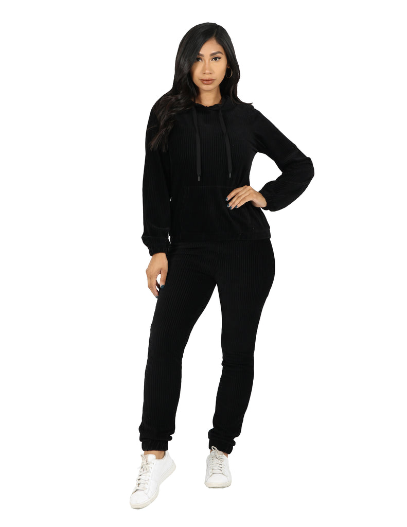Active Rib Hoodie and Jogger Set