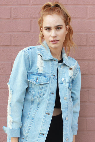 Total Destruction Oversized Denim Jacket