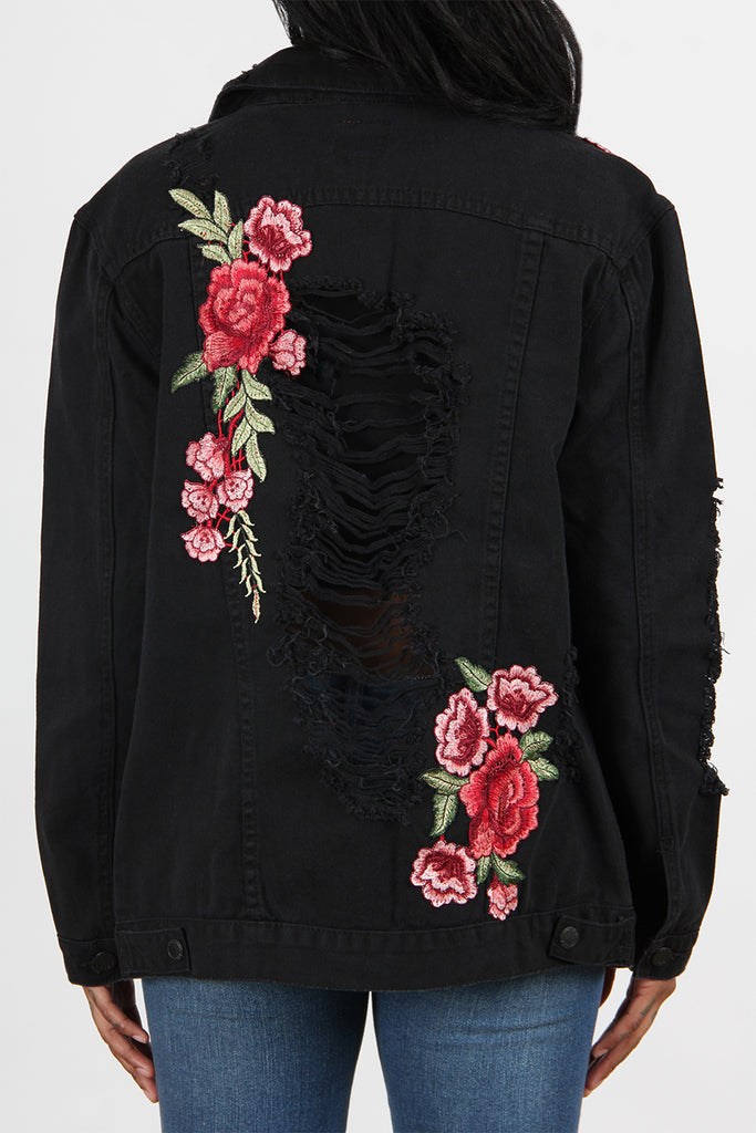 Destructed Rose Patch Denim Jacket