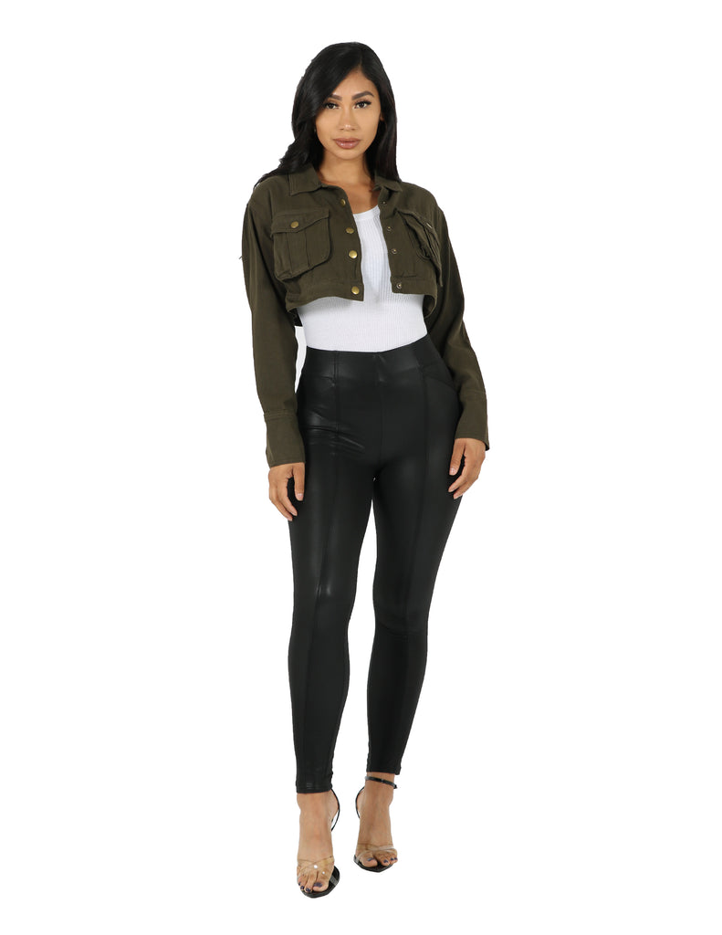 So Sassy Cropped Bellow Pocket Jacket