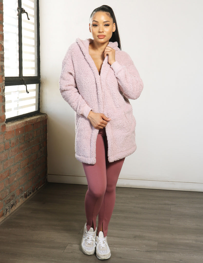 Fuzzy Fleece Teddy Hooded Cardigan
