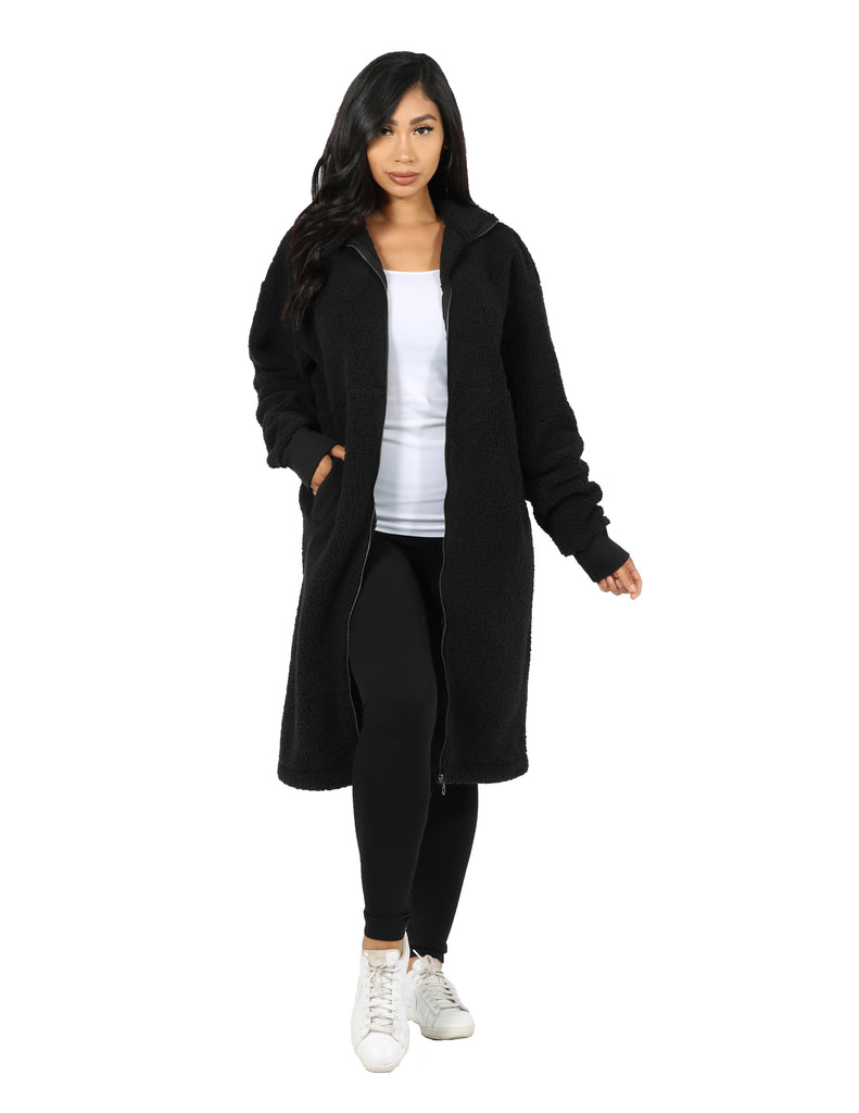 Fuzzy Fleece Teddy Neck Duster