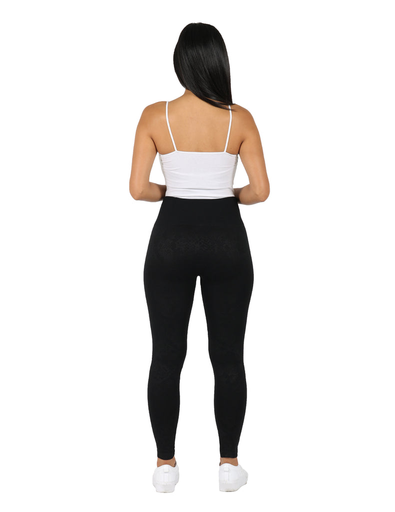 Snake Embossed Seamless Fleece Lined Legging